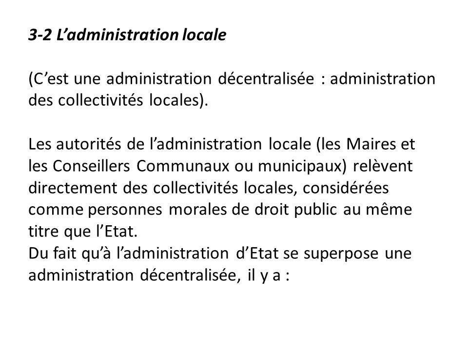 3-2 L'administration locale (C'est une administration décentralisée : administration des collectivités locales).
