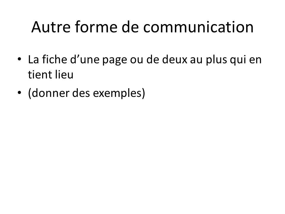 Autre forme de communication