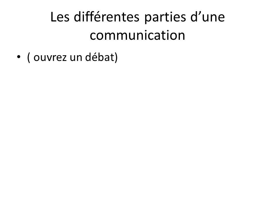 Les différentes parties d'une communication