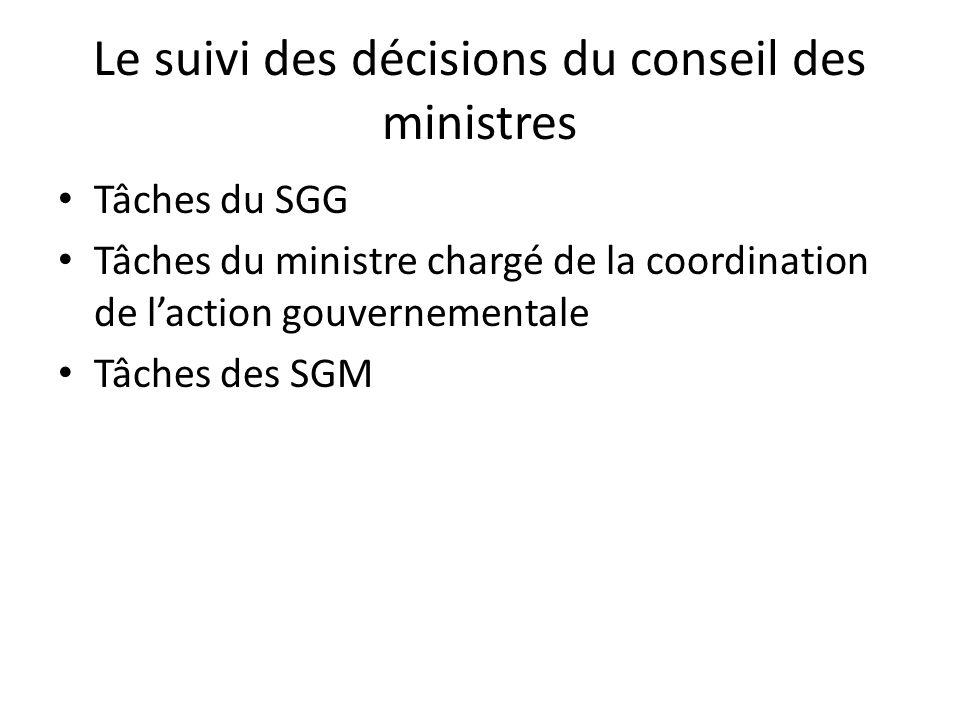 Le suivi des décisions du conseil des ministres