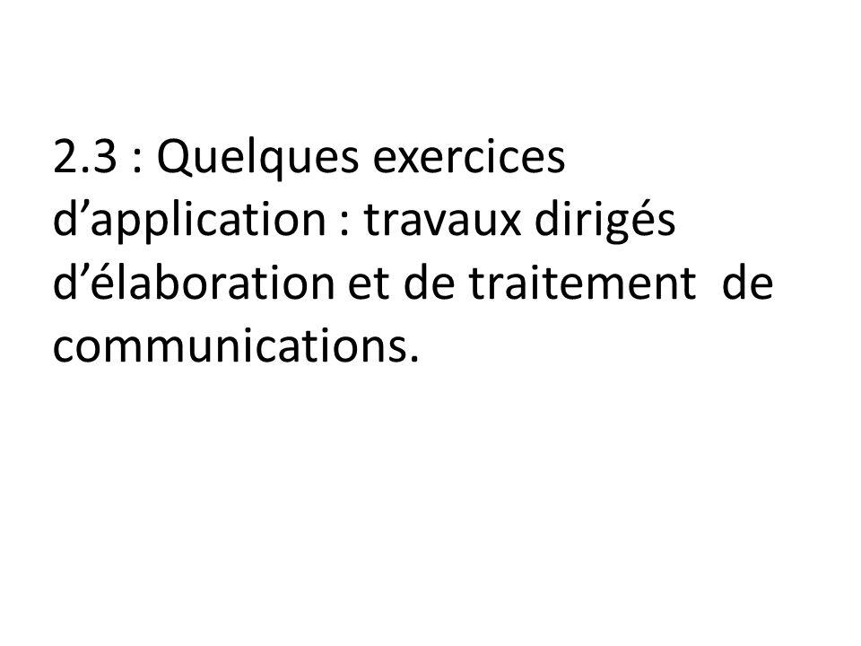 2.3 : Quelques exercices d'application : travaux dirigés d'élaboration et de traitement de communications.