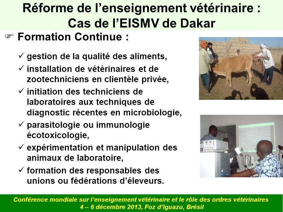 Réforme de l'enseignement vétérinaire : Cas de l'EISMV de Dakar