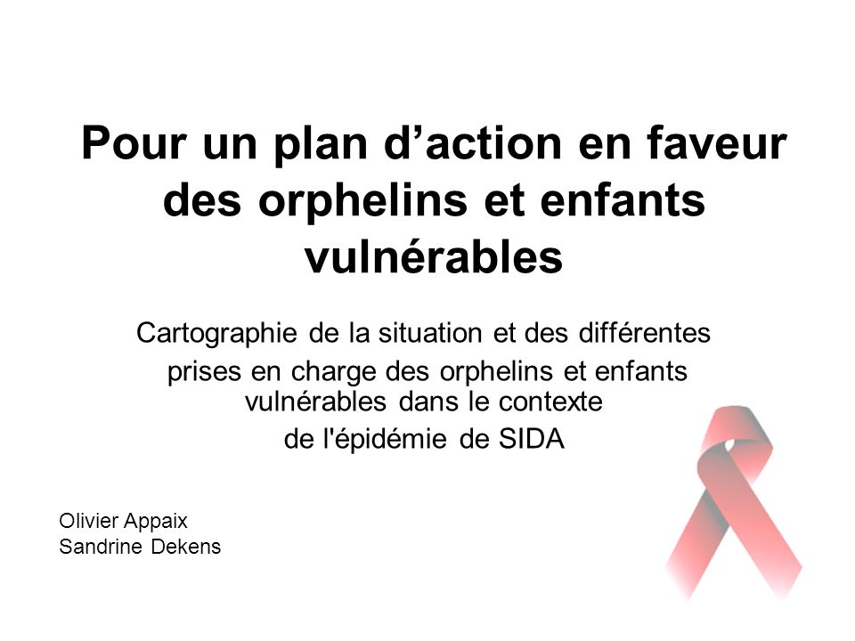 Pour un plan d'action en faveur des orphelins et enfants vulnérables