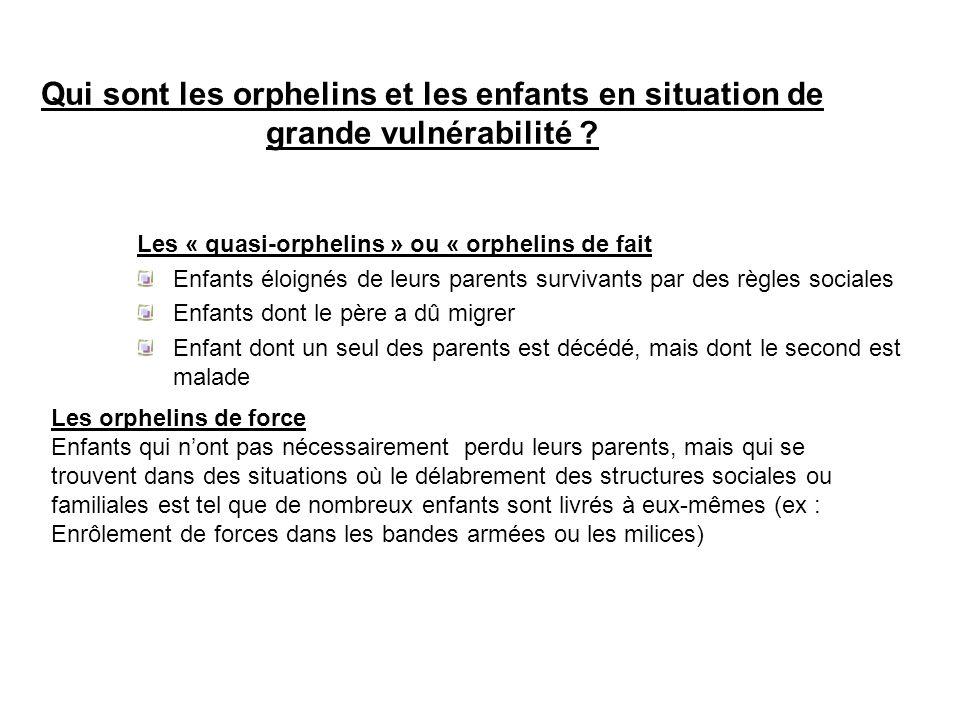 Qui sont les orphelins et les enfants en situation de grande vulnérabilité