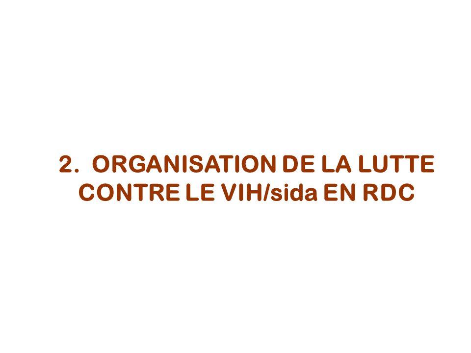 2. ORGANISATION DE LA LUTTE CONTRE LE VIH/sida EN RDC