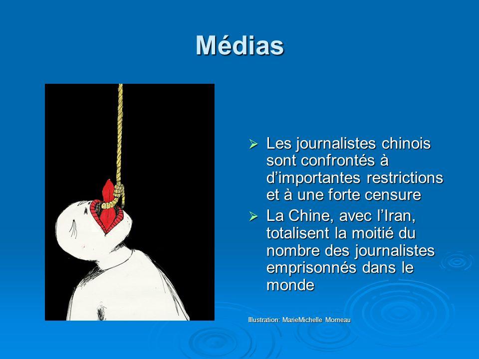 Médias Les journalistes chinois sont confrontés à d'importantes restrictions et à une forte censure.