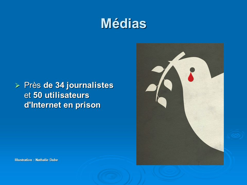 Médias Près de 34 journalistes et 50 utilisateurs d Internet en prison