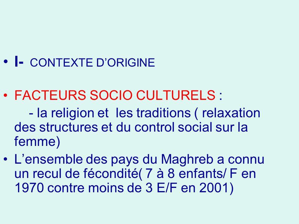 I- CONTEXTE D'ORIGINE FACTEURS SOCIO CULTURELS :