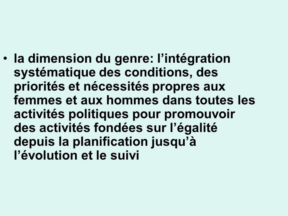 la dimension du genre: l'intégration systématique des conditions, des priorités et nécessités propres aux femmes et aux hommes dans toutes les activités politiques pour promouvoir des activités fondées sur l'égalité depuis la planification jusqu'à l'évolution et le suivi