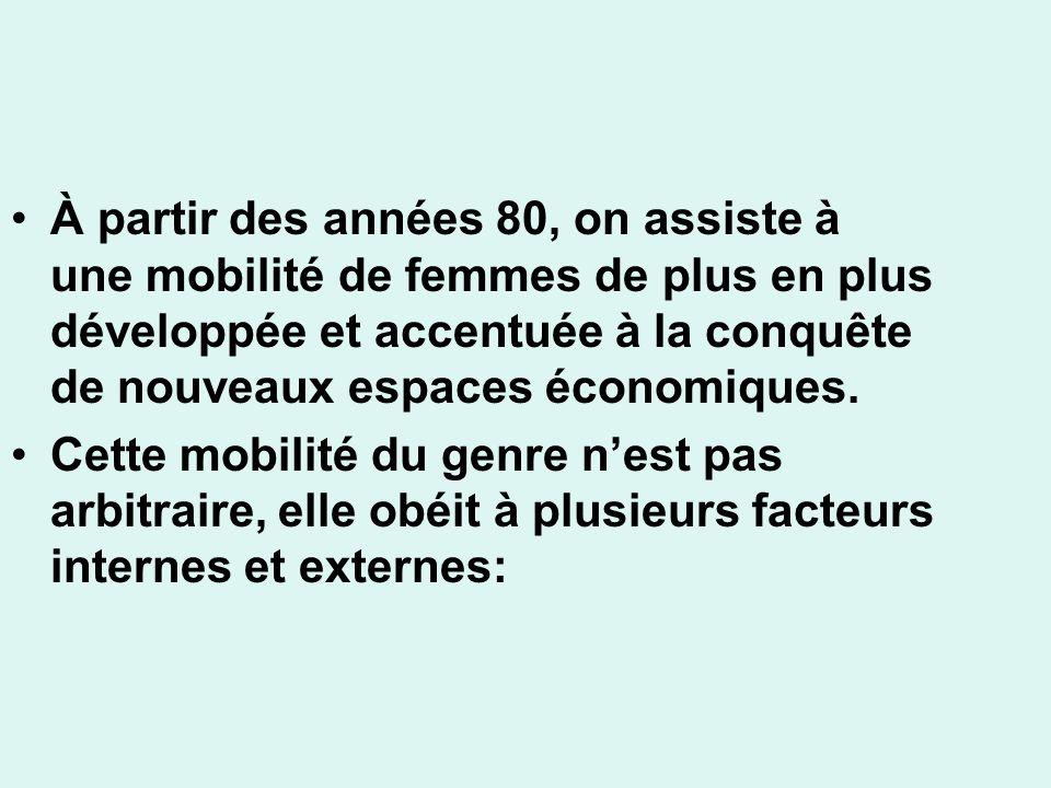 À partir des années 80, on assiste à une mobilité de femmes de plus en plus développée et accentuée à la conquête de nouveaux espaces économiques.