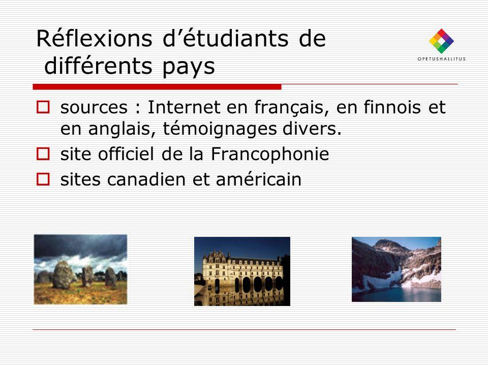 Réflexions d'étudiants de différents pays