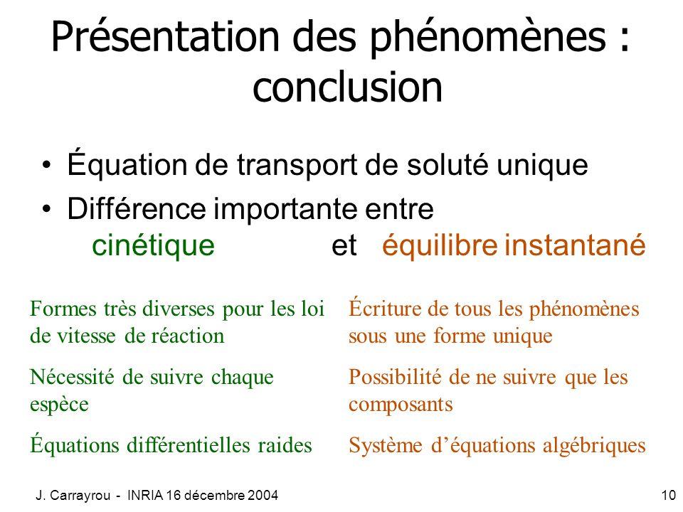 Présentation des phénomènes : conclusion