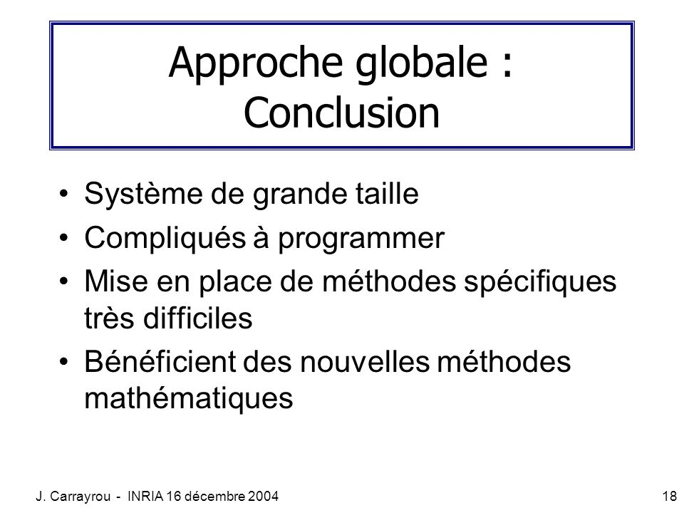 Approche globale : Conclusion