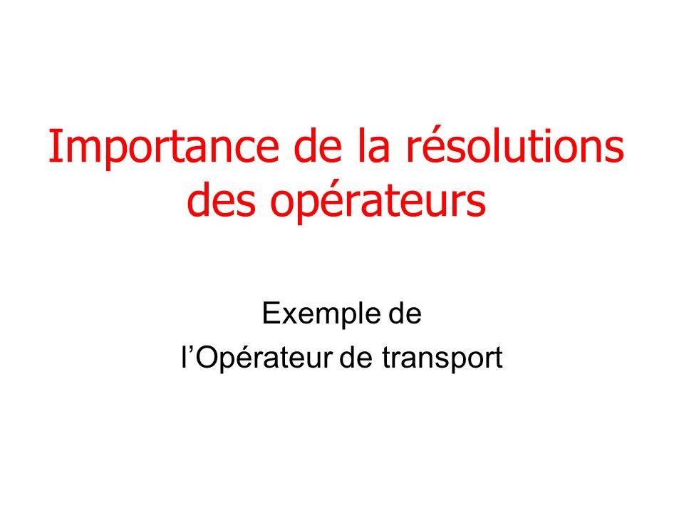 Importance de la résolutions des opérateurs