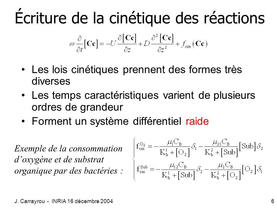 Écriture de la cinétique des réactions
