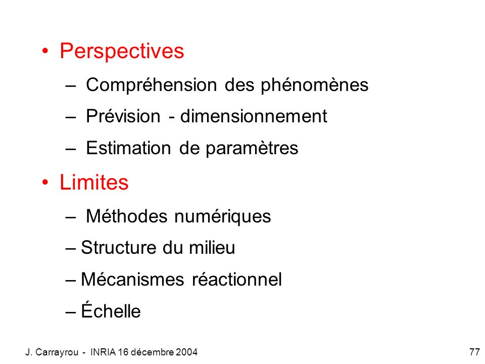 Perspectives Limites Compréhension des phénomènes