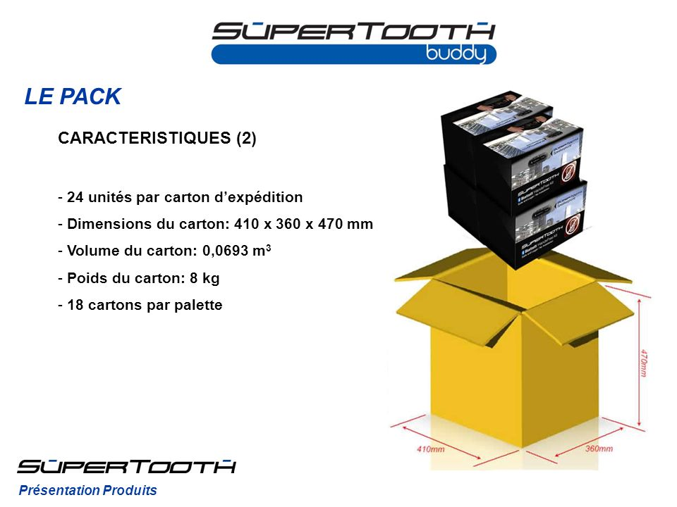 LE PACK CARACTERISTIQUES (2) 24 unités par carton d'expédition