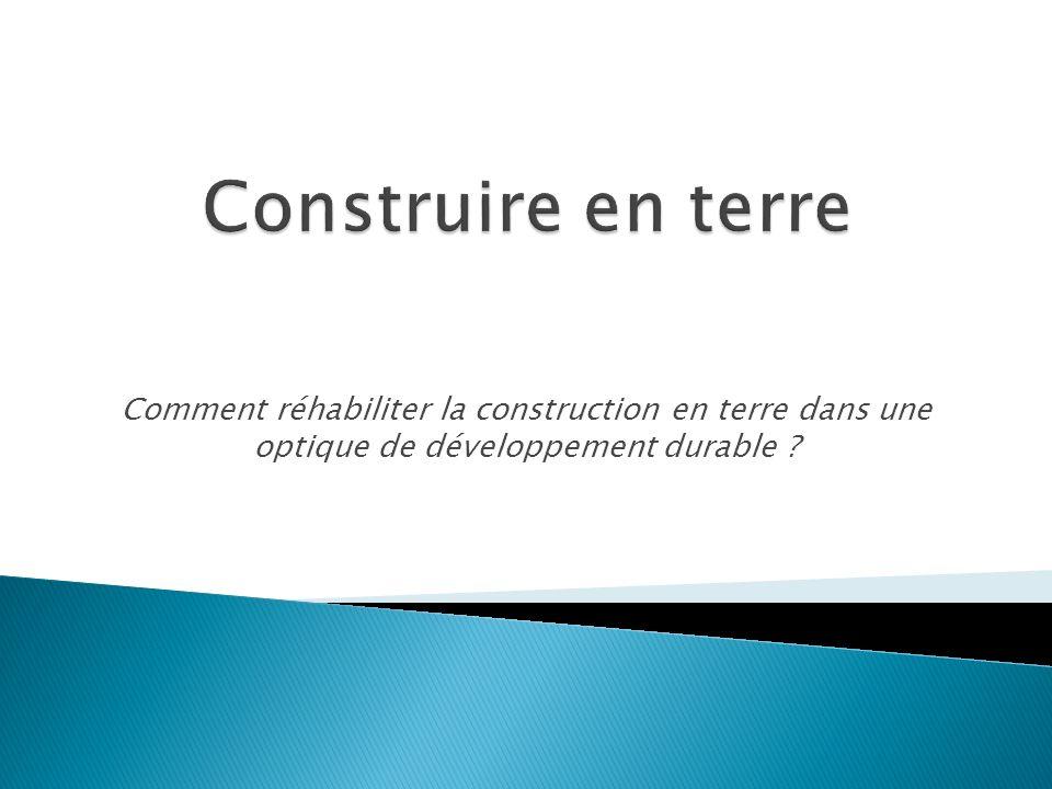 Construire en terre Comment réhabiliter la construction en terre dans une optique de développement durable