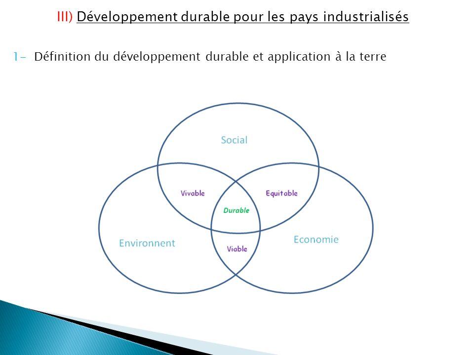 III) Développement durable pour les pays industrialisés