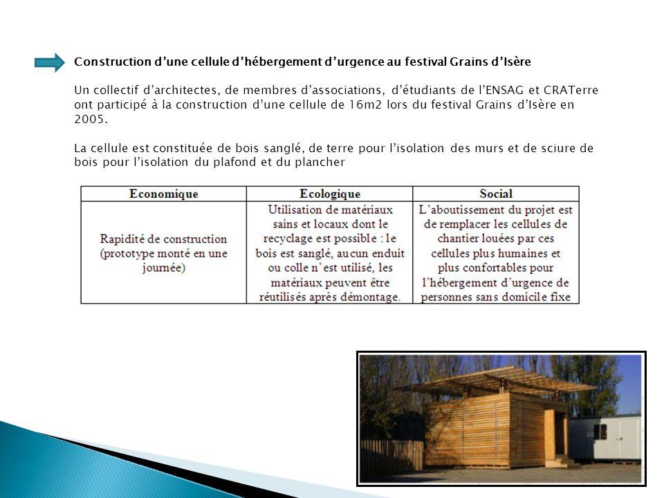 Construction d'une cellule d'hébergement d'urgence au festival Grains d'Isère