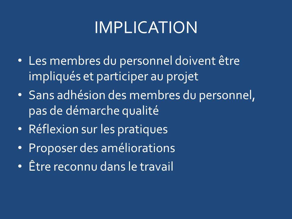 IMPLICATION Les membres du personnel doivent être impliqués et participer au projet. Sans adhésion des membres du personnel, pas de démarche qualité.