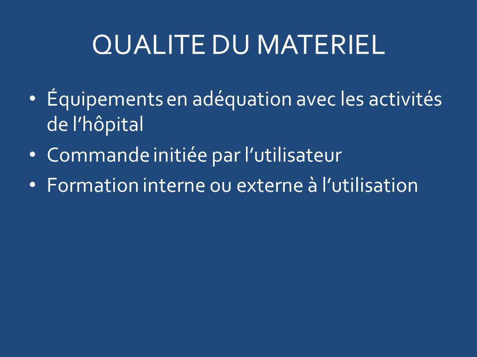 QUALITE DU MATERIEL Équipements en adéquation avec les activités de l'hôpital. Commande initiée par l'utilisateur.