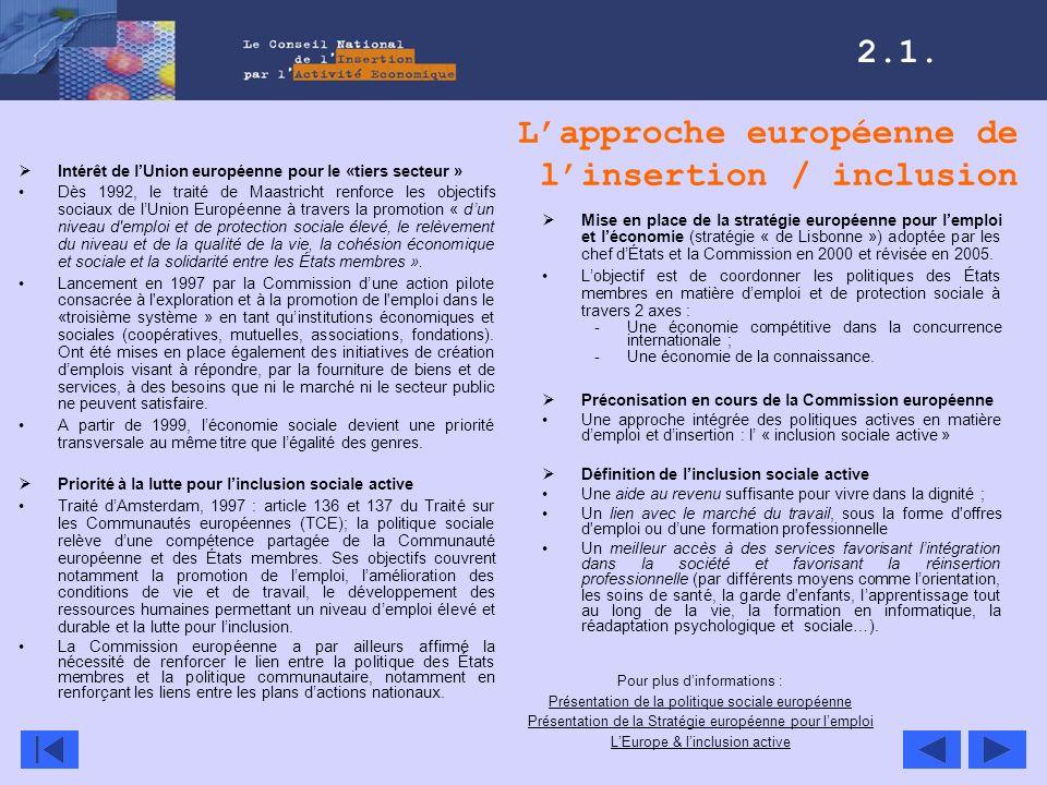 L'approche européenne de l'insertion / inclusion
