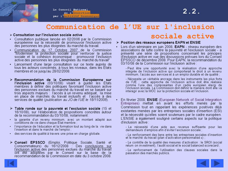 Communication de l'UE sur l inclusion sociale active