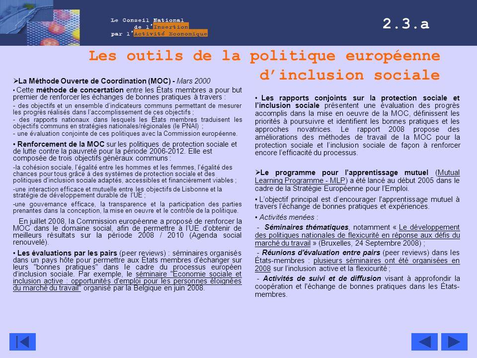 Les outils de la politique européenne d'inclusion sociale