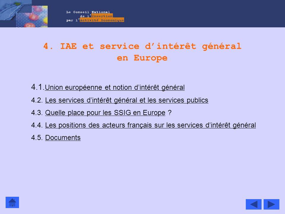 4. IAE et service d'intérêt général en Europe
