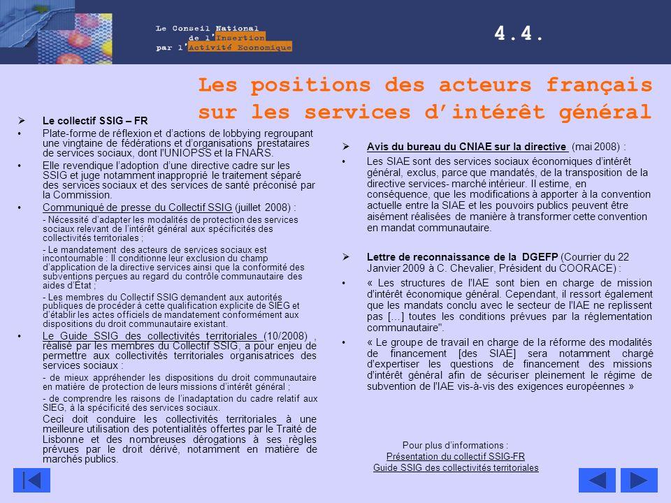 Les positions des acteurs français sur les services d'intérêt général