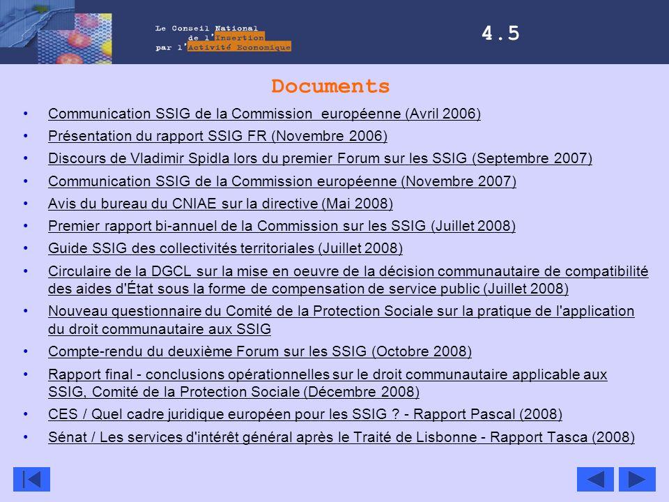 4.5 Documents. Communication SSIG de la Commission européenne (Avril 2006) Présentation du rapport SSIG FR (Novembre 2006)