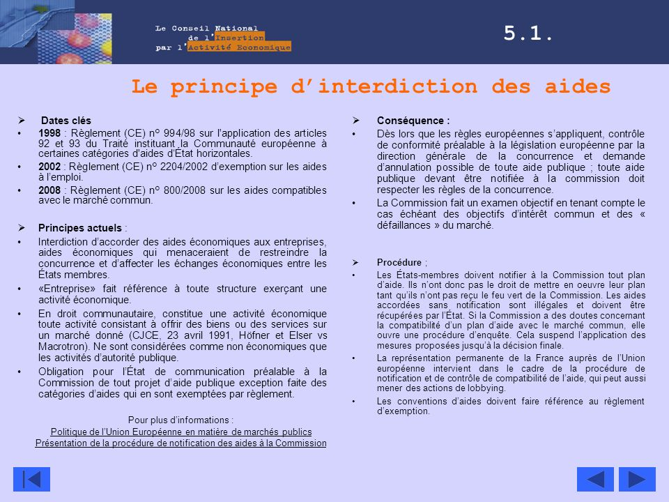 Le principe d'interdiction des aides