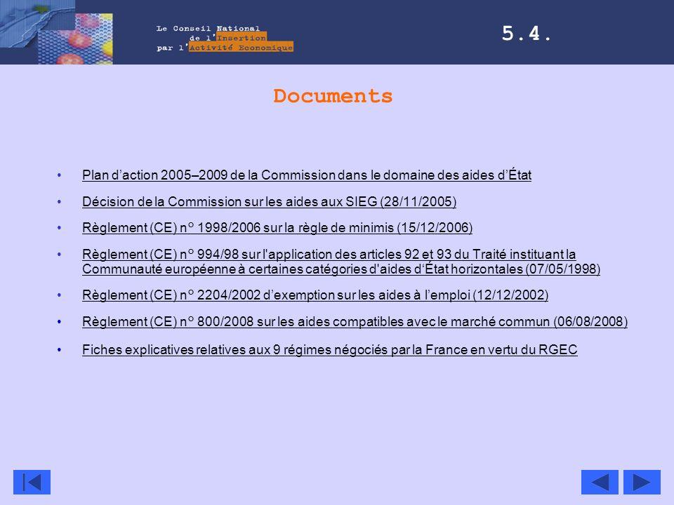 5.4. Documents. Plan d'action 2005–2009 de la Commission dans le domaine des aides d'État.