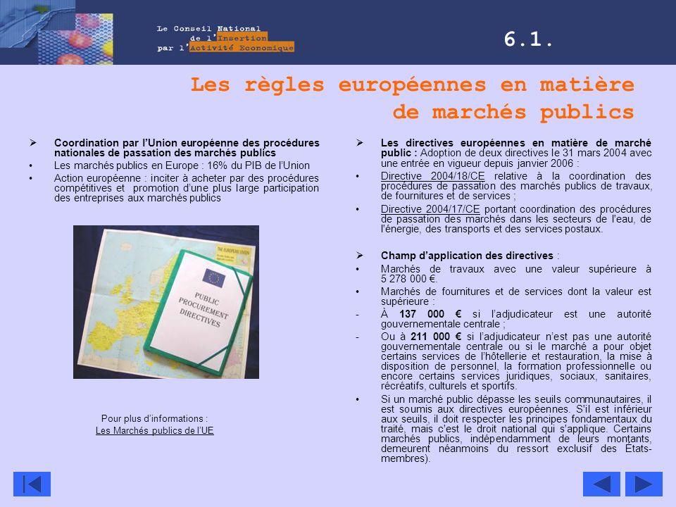 Les règles européennes en matière de marchés publics