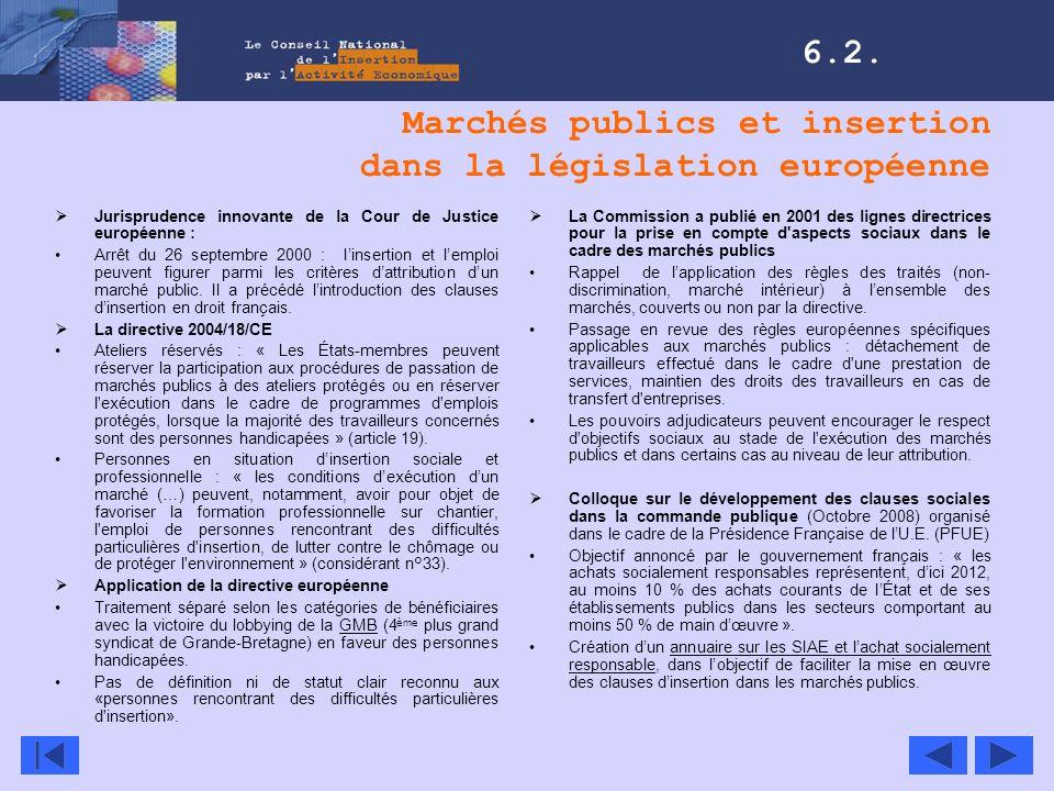 Marchés publics et insertion dans la législation européenne