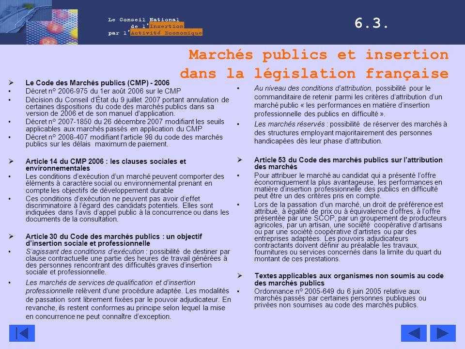 Marchés publics et insertion dans la législation française