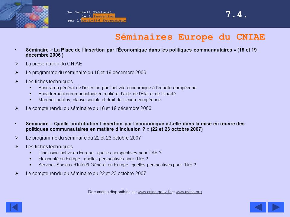Séminaires Europe du CNIAE