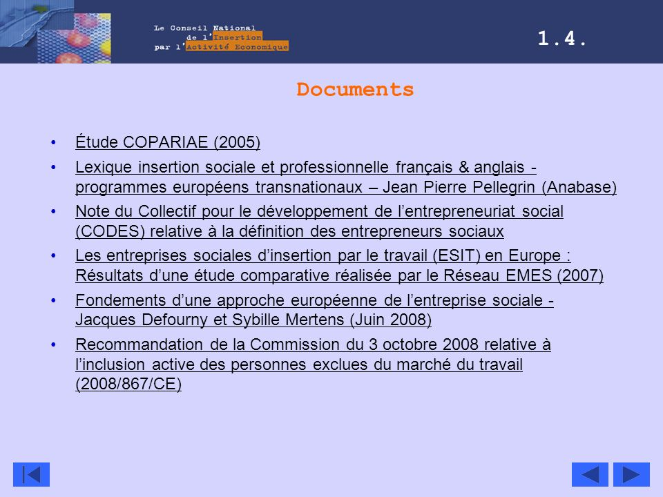 1.4. Documents Étude COPARIAE (2005)