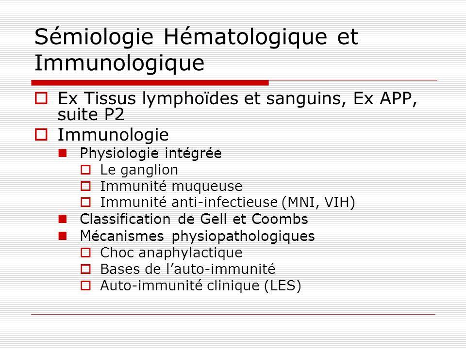 Sémiologie Hématologique et Immunologique