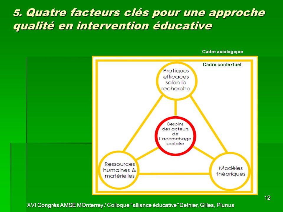 5. Quatre facteurs clés pour une approche qualité en intervention éducative