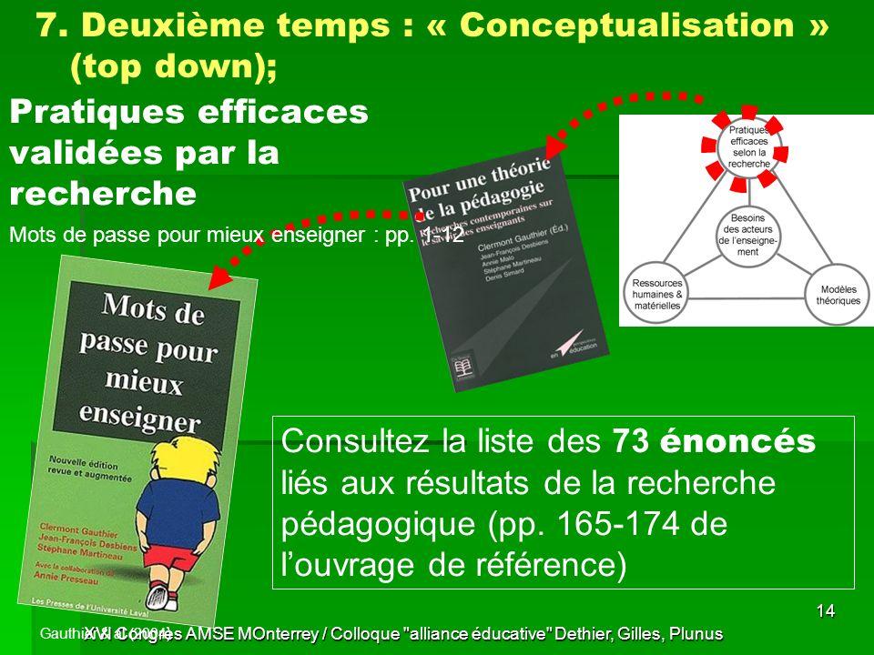 7. Deuxième temps : « Conceptualisation » (top down);