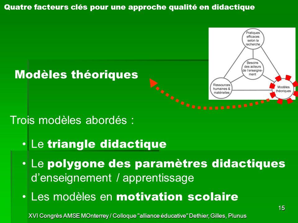 Trois modèles abordés :