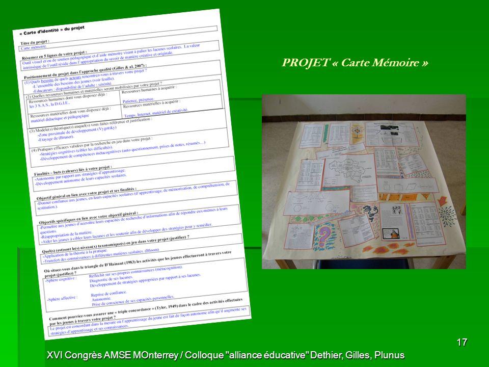PROJET « Carte Mémoire »