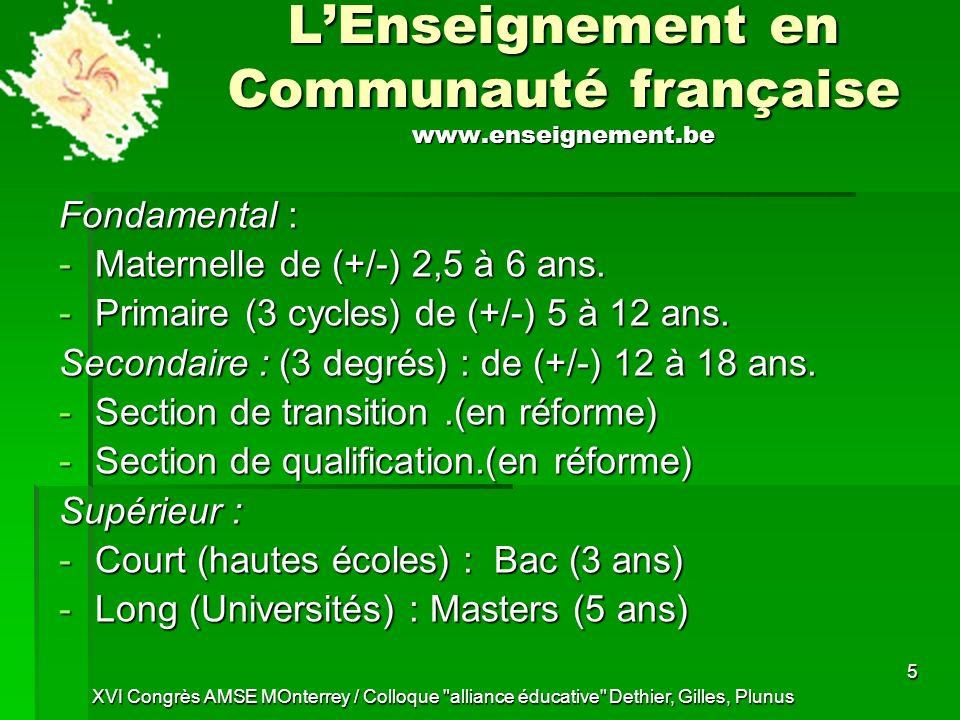L'Enseignement en Communauté française www.enseignement.be