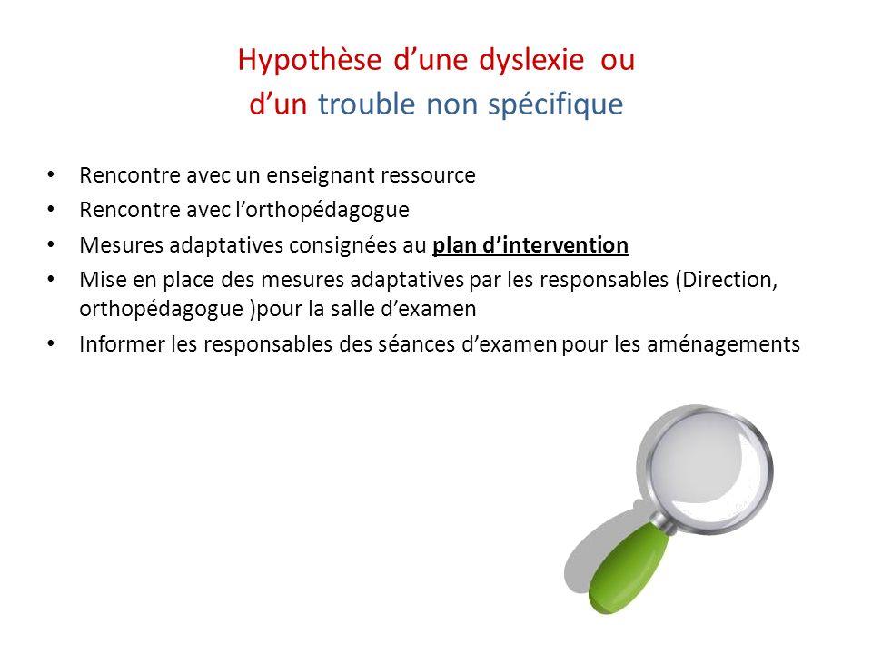 Hypothèse d'une dyslexie ou d'un trouble non spécifique