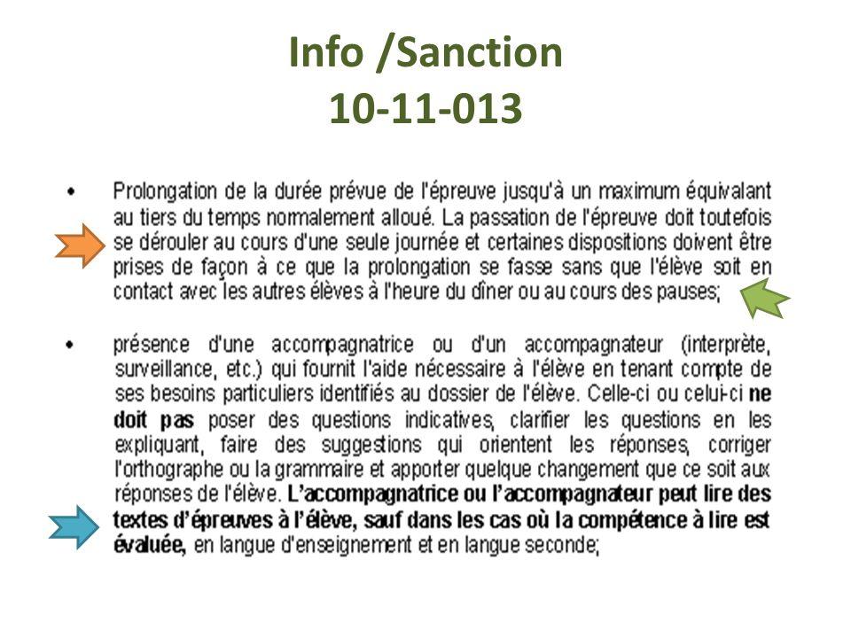 Info /Sanction 10-11-013
