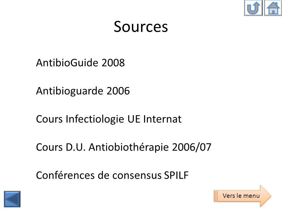 Sources AntibioGuide 2008 Antibioguarde 2006 Cours Infectiologie UE Internat Cours D.U. Antiobiothérapie 2006/07 Conférences de consensus SPILF