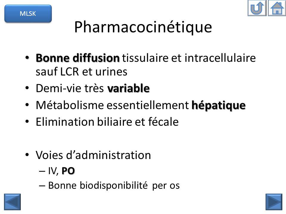 MLSK Pharmacocinétique. Bonne diffusion tissulaire et intracellulaire sauf LCR et urines. Demi-vie très variable.