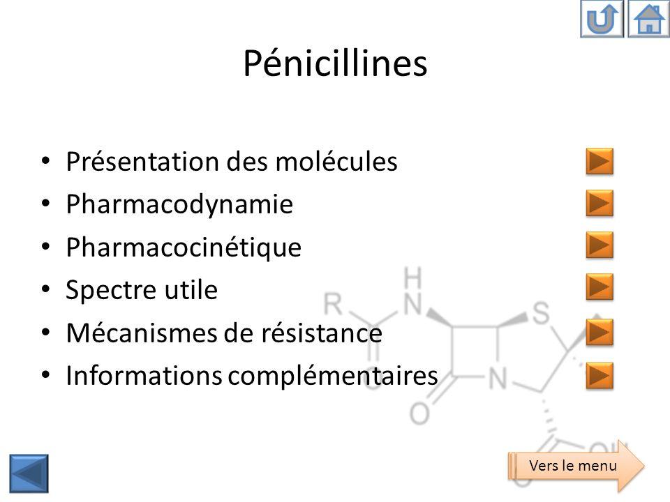 Pénicillines Présentation des molécules Pharmacodynamie